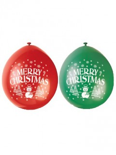 Merry Christmas Latexballons 10 Stück grün-rot 23 cm