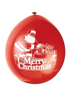 Merry Christmas Weihnachts-Luftballons 10 Stück rot-weiss 23cm
