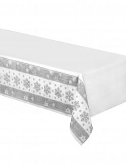 Schneeflocken-Tischdecke aus Papier silber 137 x 259 cm