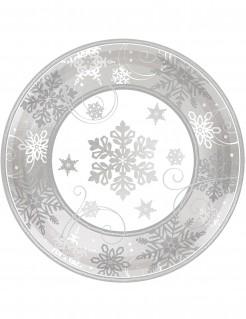 Partyteller Schneeflocken Weihnachten 8 Stück grau 18cm