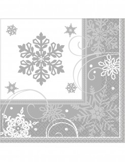 Schneeflocken-Servietten Winterdeko 16 Stück weiss-grau 25x25cm