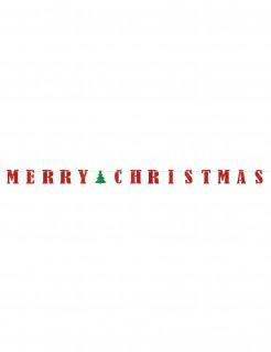 Weihnachtsgirlande Merry Christmas rot-grün 3,65m