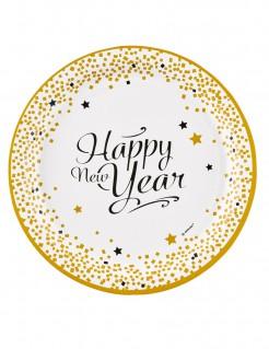 Happy New Year Pappteller 8 Stück gold 23 cm