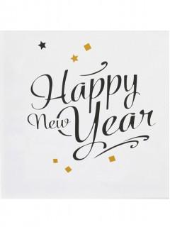 Silvester-Servietten Happy New Year weiss-schwarz-gold