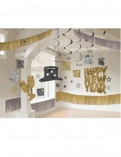 Happy New Year Raumdeko-Set schwarz-gold-silber
