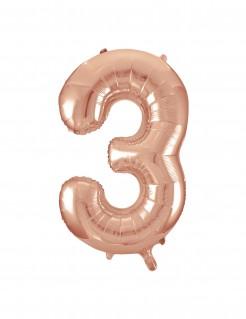 Aluminium-Ballon Zahl 3 roségold 86,36cm