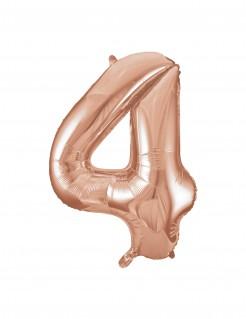 Aluminium-Ballon Zahl 4 roségold 86,3cm