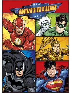 Justice League™-Einladungskarten mit Umschlägen Lizenzartikel 8 Stück bunt