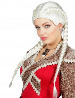 Königinnen-Perücke mit Zöpfen Fantasy-Damenperücke weiss