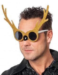 Weihnachten Rentier-Brille mit Gold-Glitter für Erwachsene