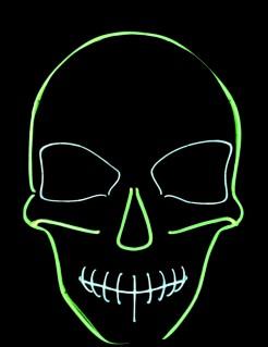 UV Halloween-Maske Skelett grün-weiss