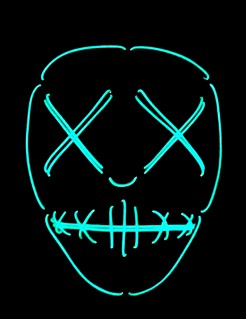 UV Halloween-Maske Zombie mit zugenähten Augen und Mund blau