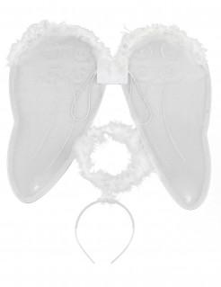 Engelsflügel mit Heiligenschein weiss-silber