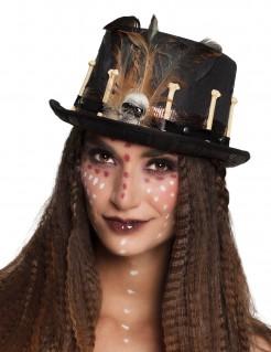 Voodoo-Zylinder Halloween-Kostümaccessoire schwarz