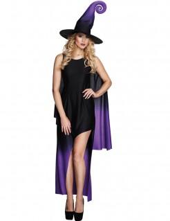 Hexe Damenkostüm für Halloween schwarz-lila