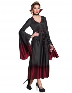 Vampirin Halloween-Damenkostüm mit Farbverlauf schwarz-rot