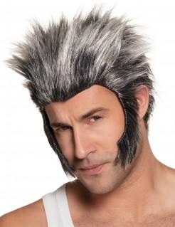 Wolfsmann-Peruecke Werwolf-Peruecke mit Koteletten grau-schwarz