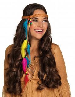 Indianer-Stirnband mit Federn braun-bunt