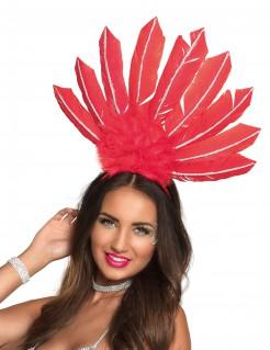 Brasilianischer Federkopfschmuck für Damen rot