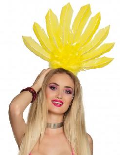 Brasilianischer Federkopfschmuck für Damen gelb