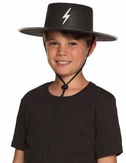 Maskierter Gerechtigkeitskämpfer Hut für Kinder schwarz-weiss