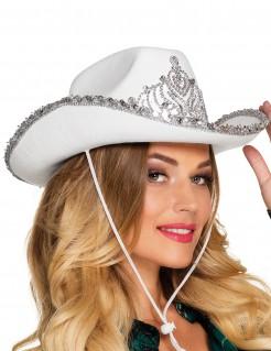 Cowboy-Prinzessin Hut für Damen weiss-silber