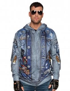 Biker-Hoodie für Männer Rockerkostüm-Oberteil blau