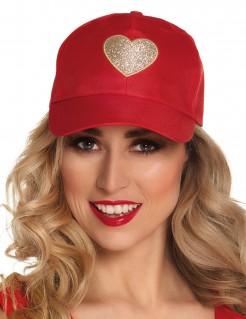 Baseball-Kappe mit Glitzer-Herz rot-gold