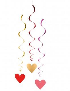 Hängespiralen Herzen Valentinstag 3 Stück bunt