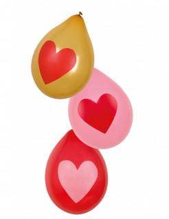 Herz-Luftballons Dekoration 6 Stück bunt 25cm