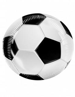 Party Fussball-Pappteller 6 Stück weiss-schwarz 23cm
