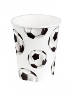 Fussball-Partybecher mit Ball-Motiv 6 Stück weiss-schwarz 250ml