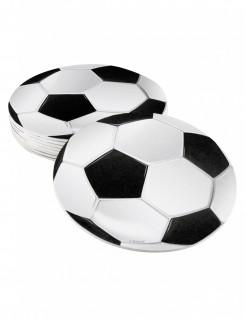 Runde Fussball-Tischuntersetzer 6 Stück schwarz-weiss 10cm