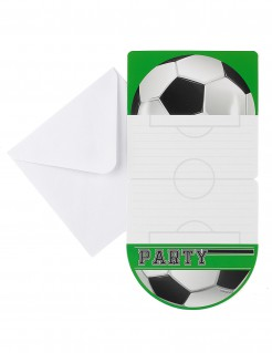 Fußball-Einladungskarten mit Umschlägen 6 Stück weiss-schwarz-grün 10 x 20cm