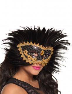 Verzierte venezianische Maske mit Federschmuck schwarz-gold