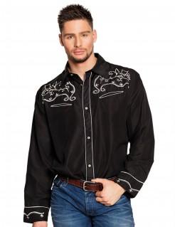 Western-Hemd Cowboyhemd für Herren schwarz-weiss