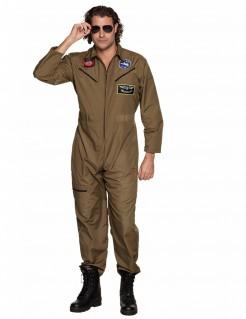 Jet-Piloten Kampfpiloten-Kostüm für Männer braun