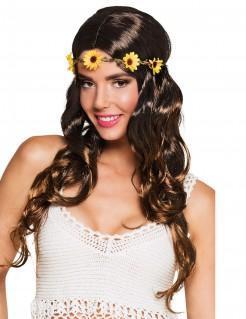Langhaarperücke für Damen mit Blumen Kostüm-Accessoire braun-gelb