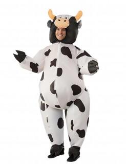 Aufblasbares Kuh-Kostüm weiss-schwarz