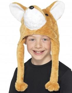 Plüschmütze für Kinder Fuchs rot-braun