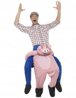 Lustiges Carry-Me-Kostüm Mann auf Schwein rosa-blau