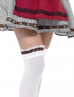 Oktoberfest Strumpfband für Damen Kostümaccessoire weiss-bunt