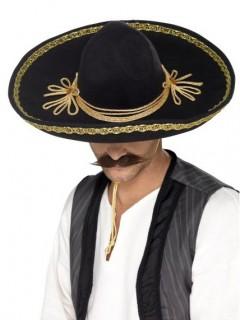 Luxus Sombrero Hut für Erwachsene schwarz-gold