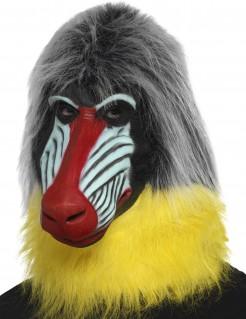 Pavian-Maske Affenmaske grau-gelb