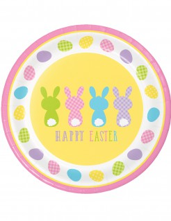 Osterhasen-Pappteller-Set Happy Easter 8 Stück bunt 22cm