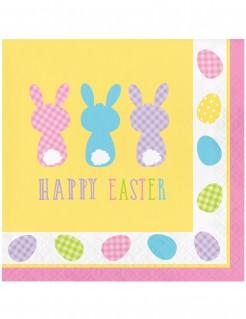 Süsse Osterhasen-Papierservietten Happy Easter 16 Stück bunt 33x33cm