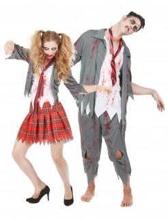 Zombie-Schülerkostüm Paarkostüm Halloween rot-weiss-grau