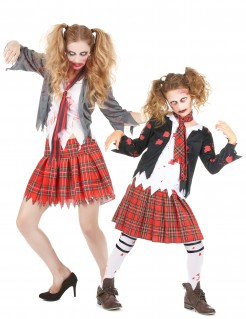 Zombie-Highschool-Kostüm Paarkostüm für Mutter und Tochter rot-weiss