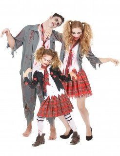 Zombie-Familienkostüm Halloween rot-weiss-grau