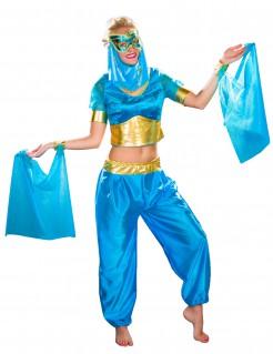 Wüstenprinzessin-Kostüm für Damen blau-goldfarben